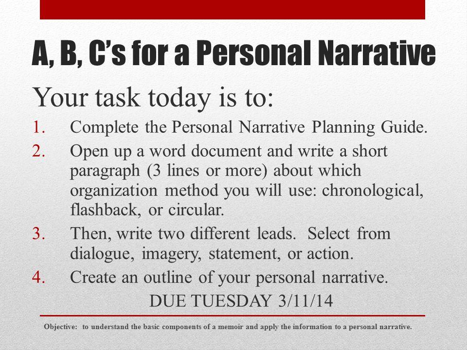 components of a personal narrative