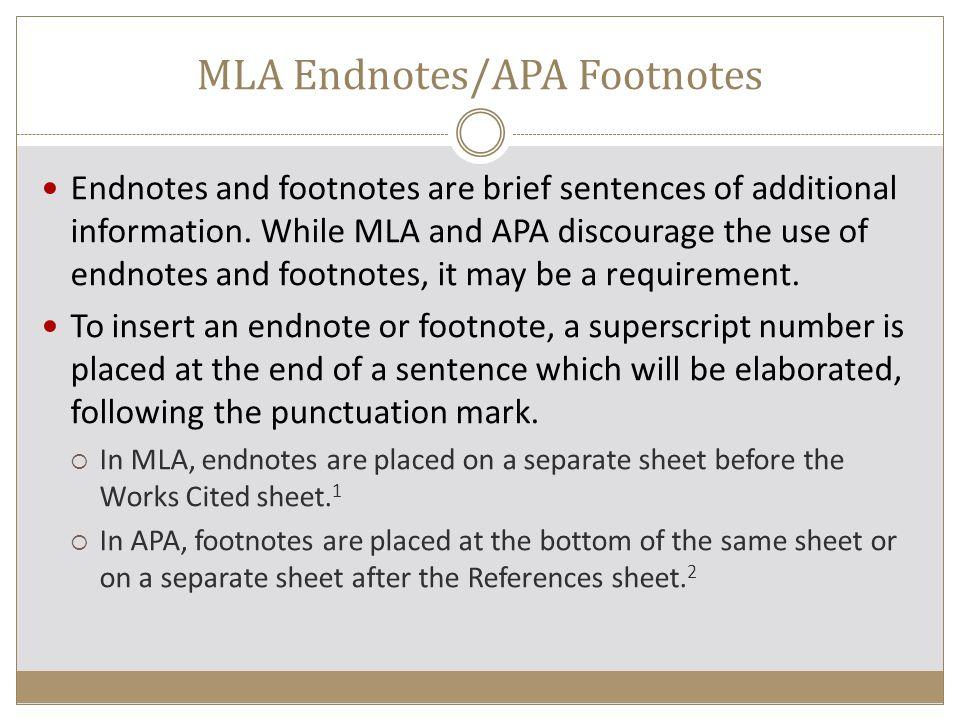 footnotes endnotes apa
