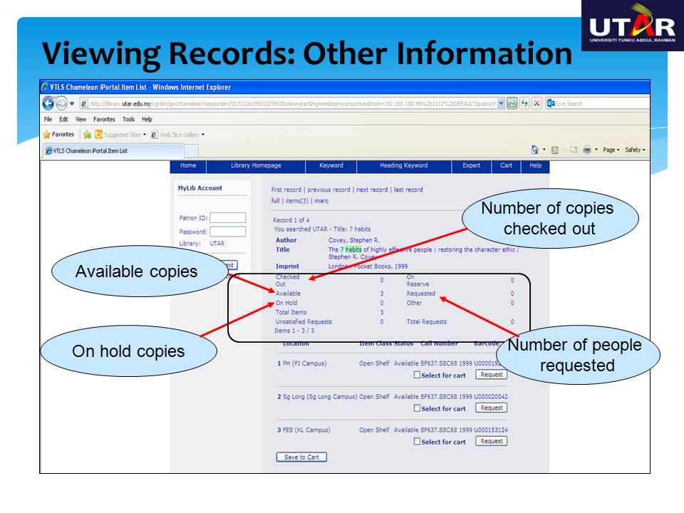 Viewing Records: Other Information