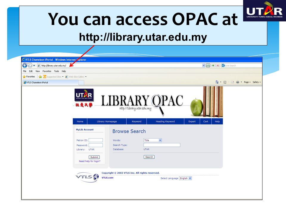 You can access OPAC at