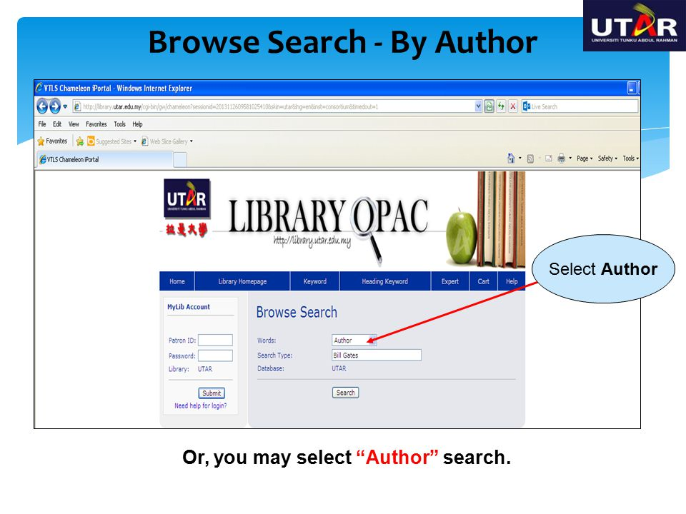 Browse Search - By Author Or, you may select Author search.