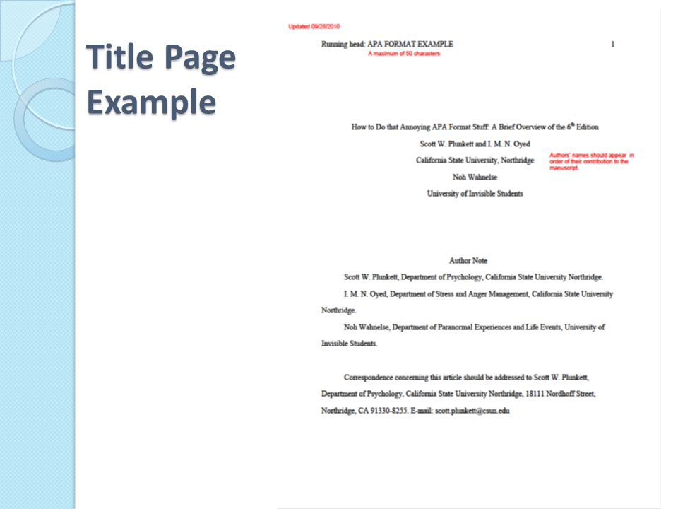 13 title page example