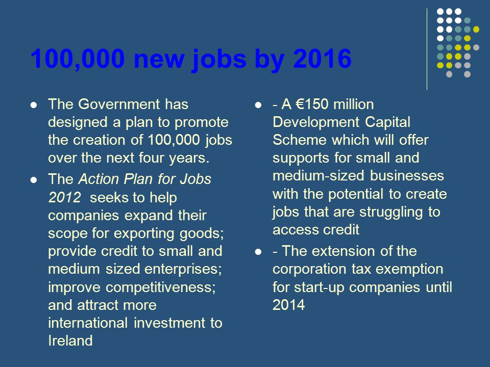 100,000 new jobs by 2016 The Government has designed a plan to promote the creation of 100,000 jobs over the next four years.