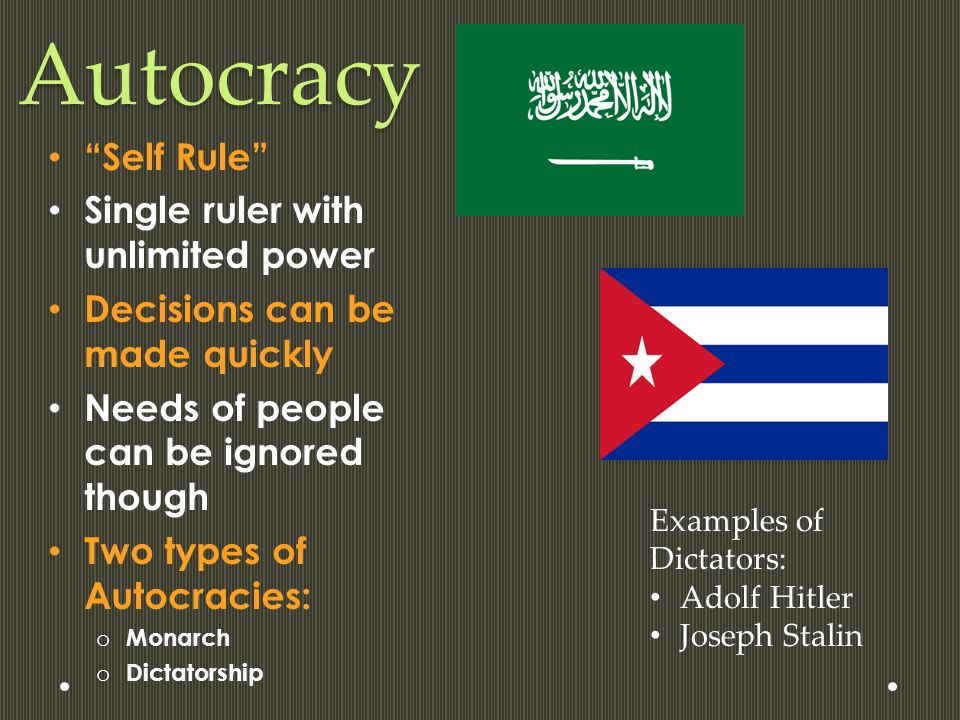 Autocracy Self Rule Single ruler with unlimited power