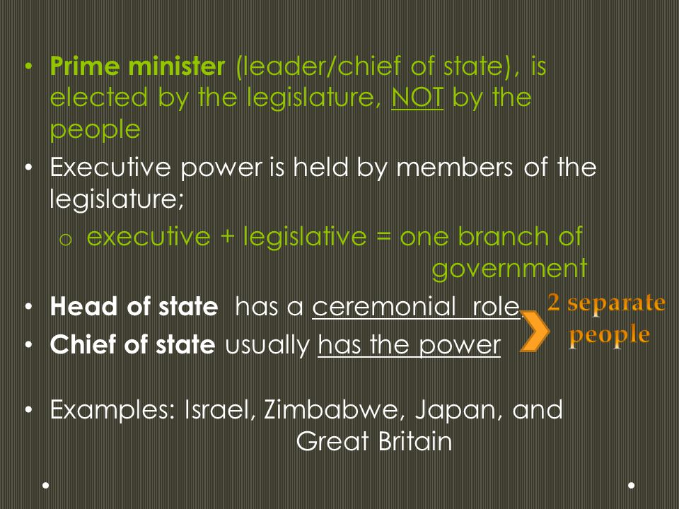 Prime minister (leader/chief of state), is elected by the legislature, NOT by the people