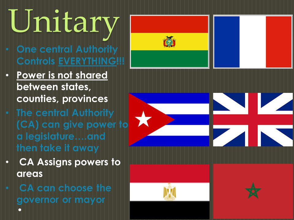 Unitary One central Authority Controls EVERYTHING!!!