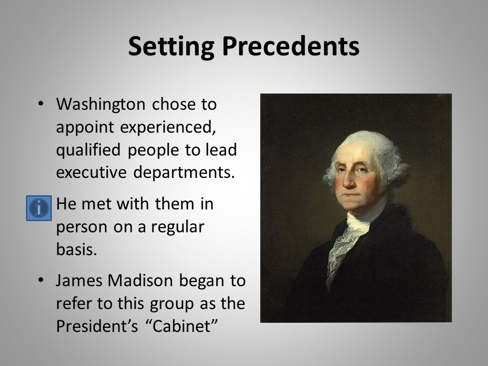 g washingtons precedents George washington george washington's precedents aim: how did president washington set an example for other presidents to follow included in this product: • title page • do now student-centered situation question: when you first started school, how did you learn the rules of your.