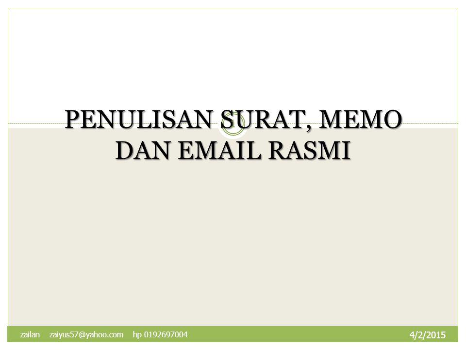Penulisan Surat Memo Dan Rasmi Ppt Download