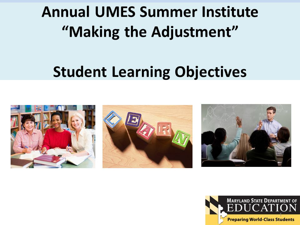 Annual UMES Summer Institute Making the Adjustment Student Learning Objectives