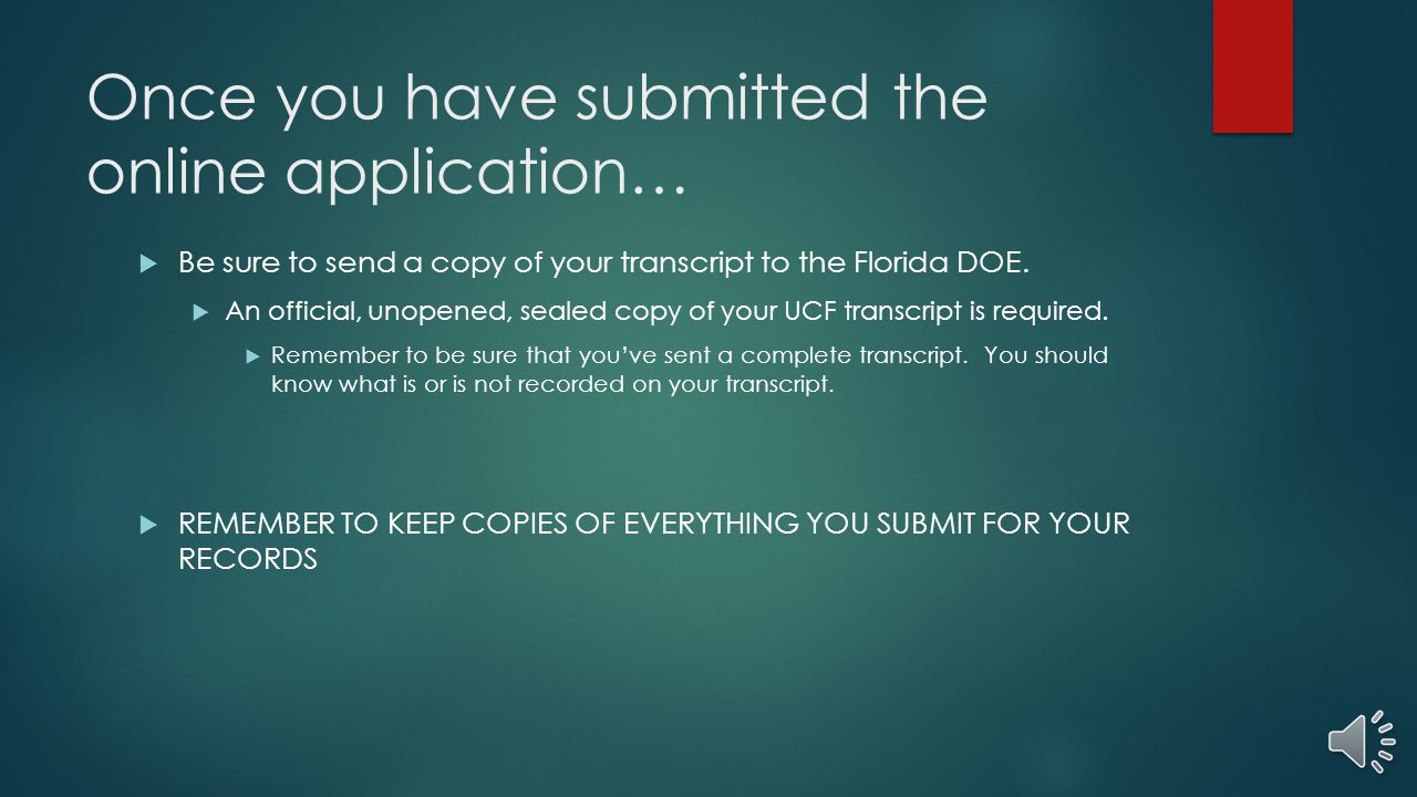 Once you have submitted the online application…