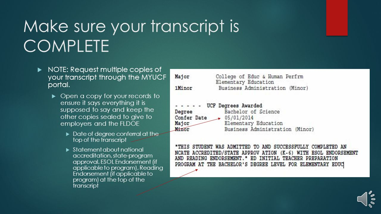 Make sure your transcript is COMPLETE