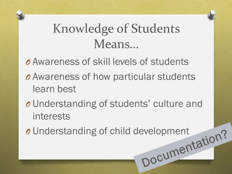 Knowledge of Students Means…