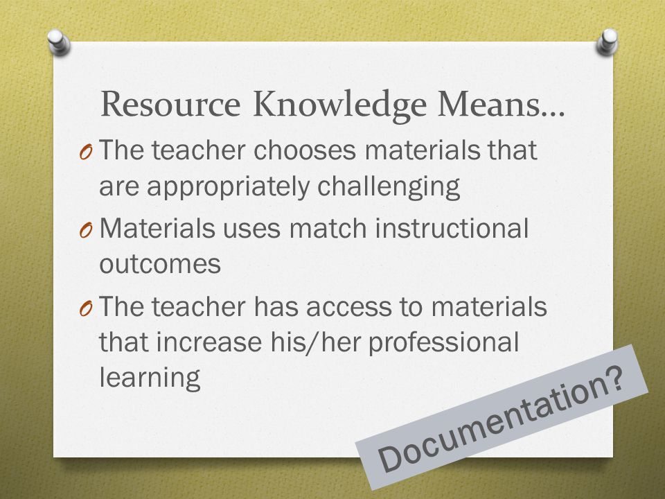 Resource Knowledge Means…