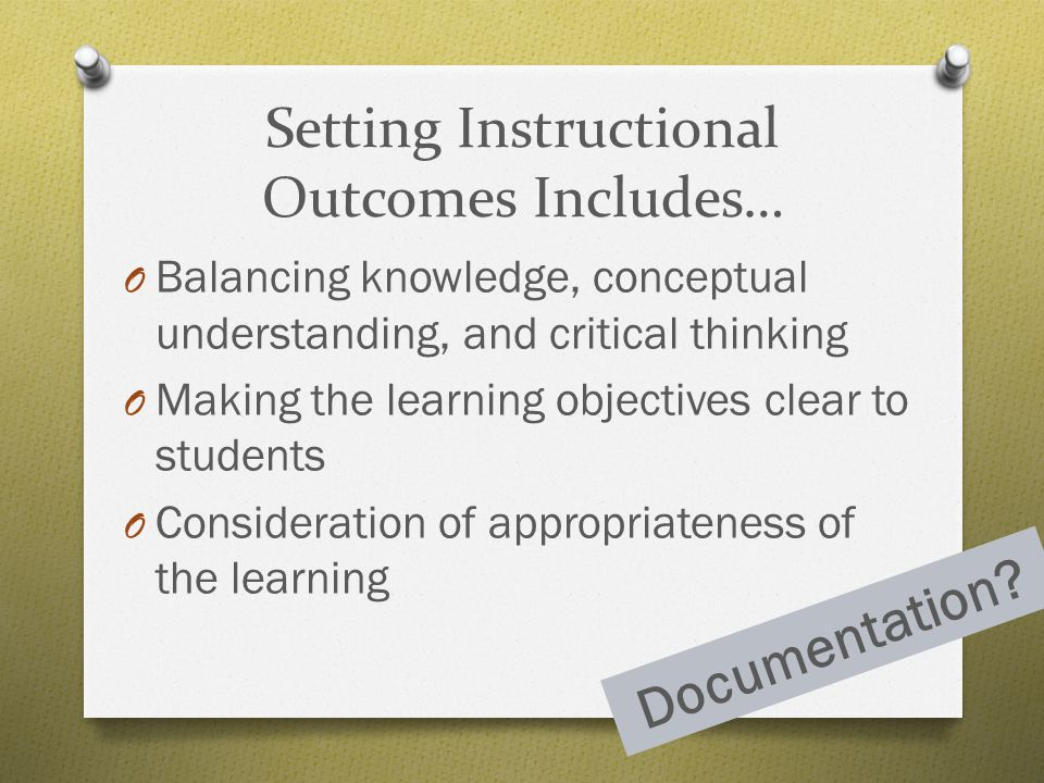 Setting Instructional Outcomes Includes…