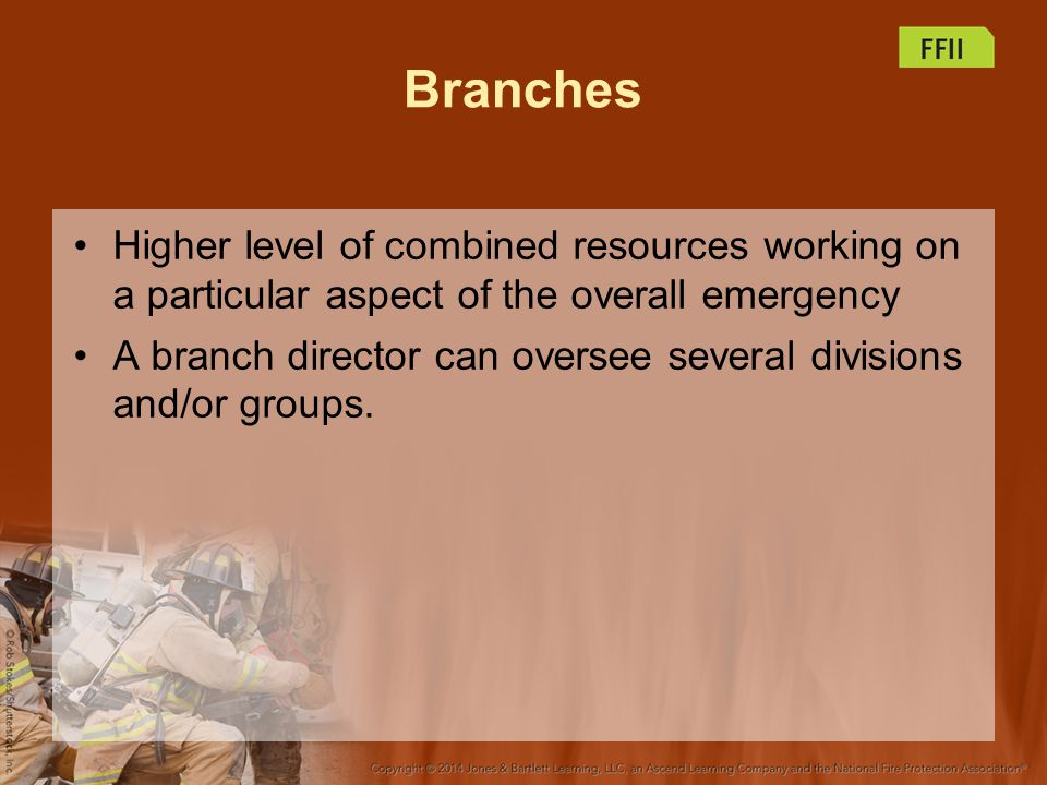 Branches Higher level of combined resources working on a particular aspect of the overall emergency.
