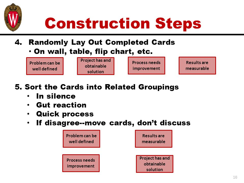 Construction Steps Randomly Lay Out Completed Cards