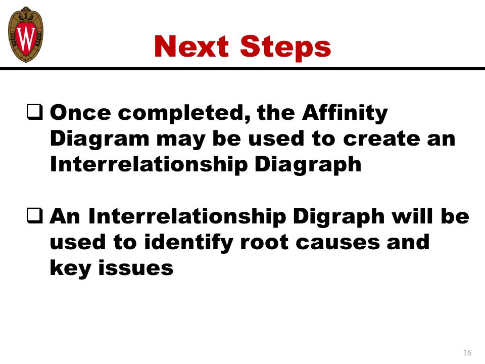 Next Steps Once completed, the Affinity Diagram may be used to create an Interrelationship Diagraph.