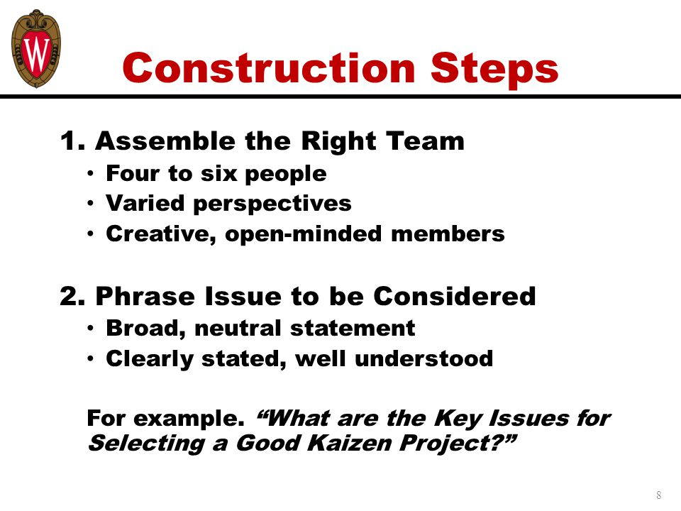 Construction Steps 1. Assemble the Right Team
