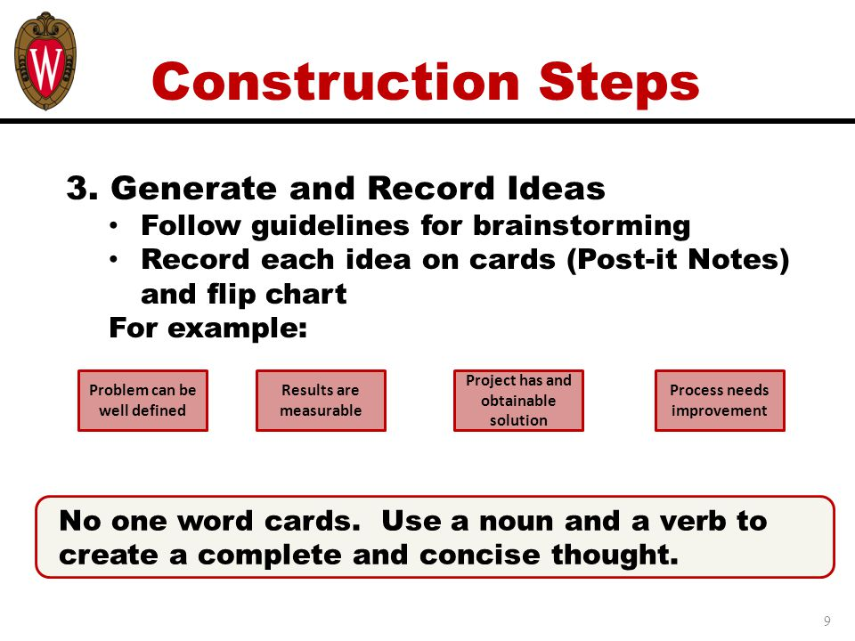 Construction Steps 3. Generate and Record Ideas
