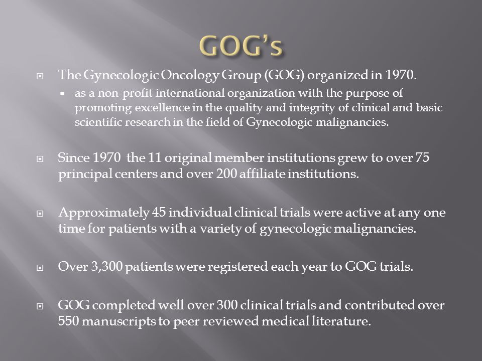 Evolution of Gynecologic Oncology Group Use of caDSR - ppt