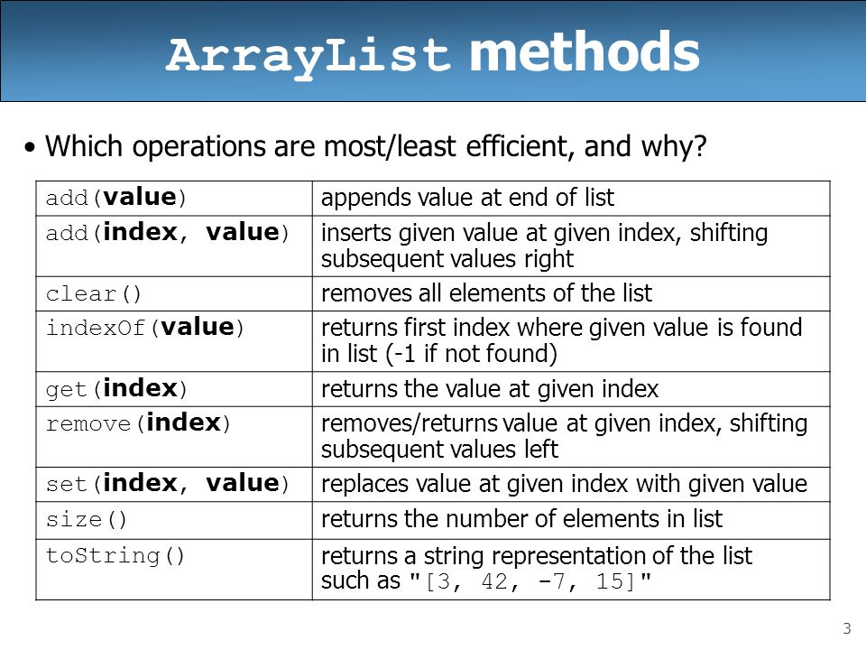 ArrayList methods Which operations are most/least efficient, and why