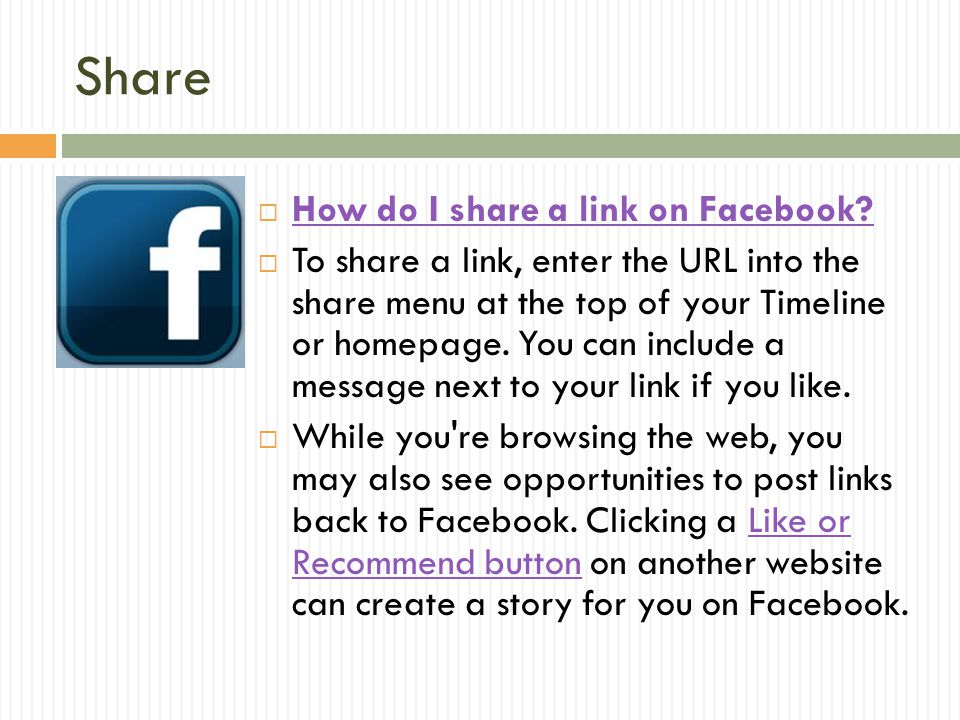 Share How do I share a link on Facebook