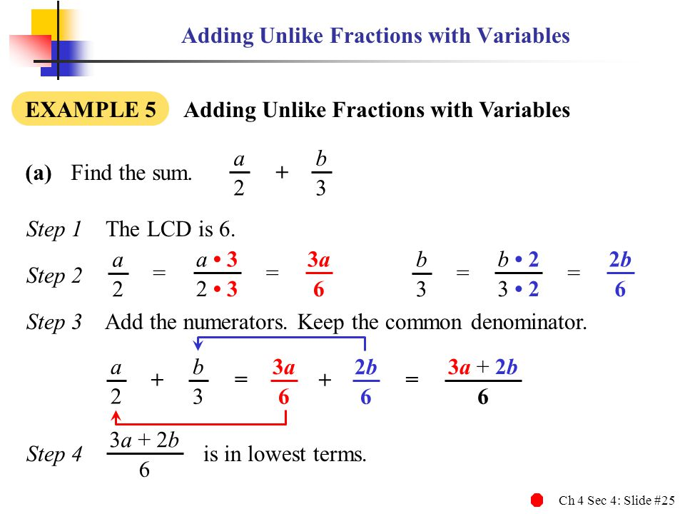 Adding Unlike Fractions with Variables