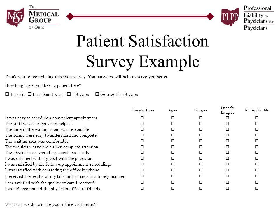 Superb Patient Satisfaction Survey Example
