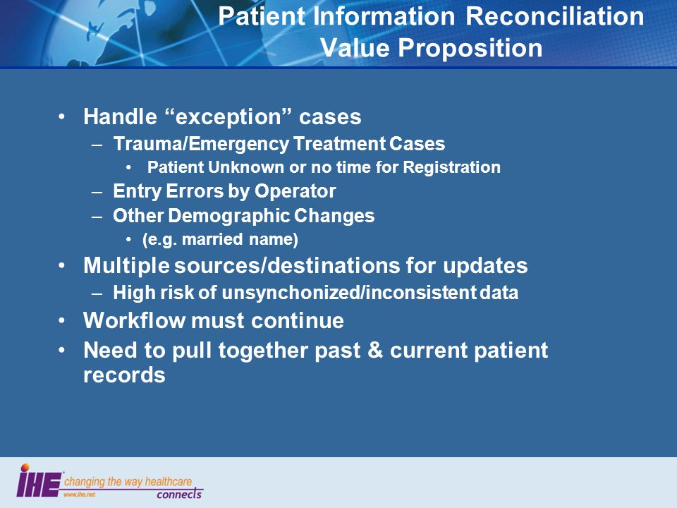 Patient Information Reconciliation Value Proposition