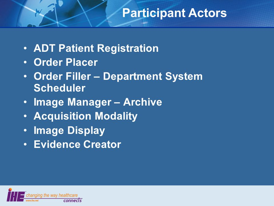 Participant Actors ADT Patient Registration Order Placer