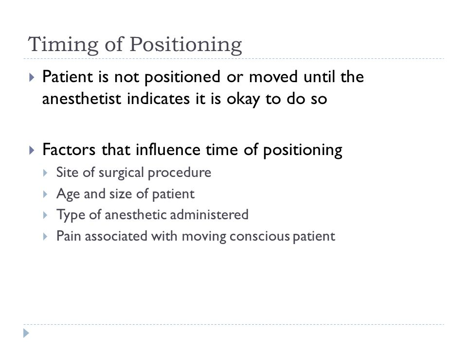 Timing of Positioning Patient is not positioned or moved until the anesthetist indicates it is okay to do so.