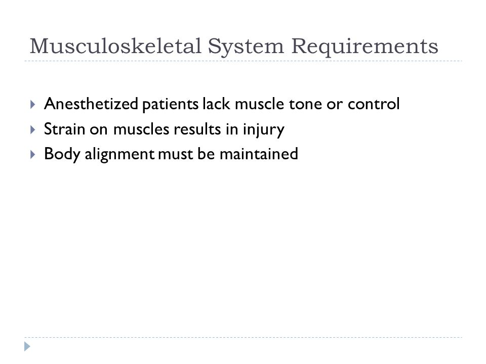 Musculoskeletal System Requirements
