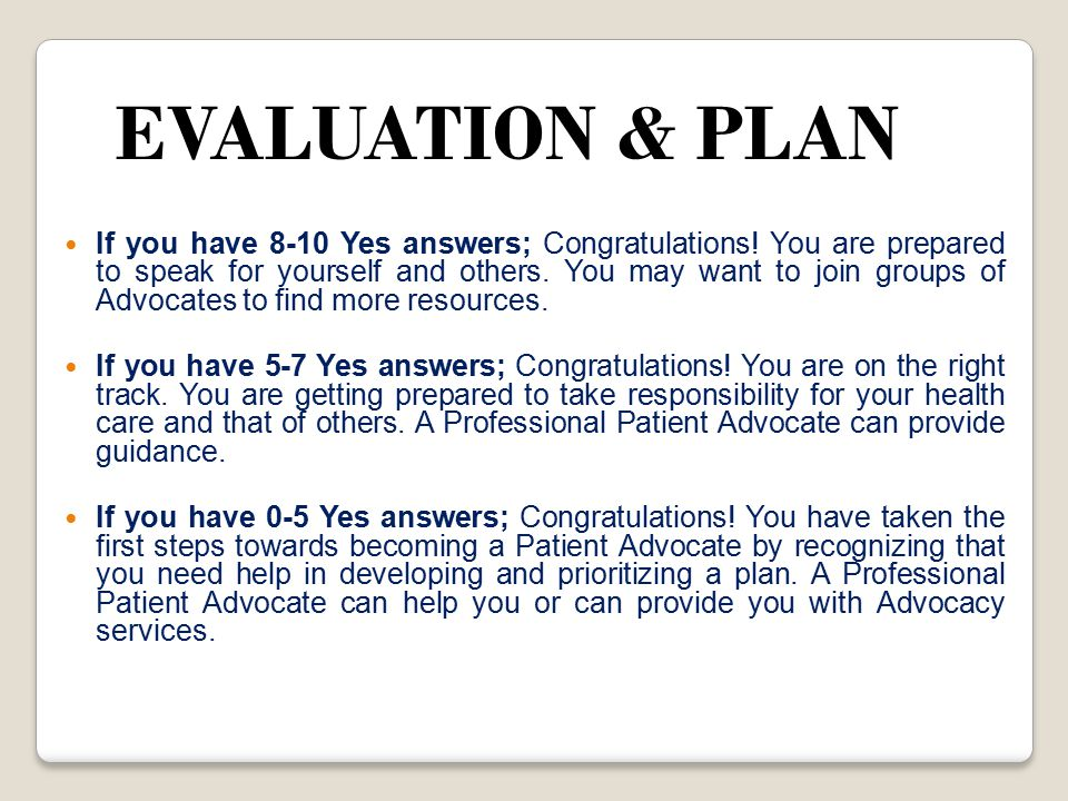 EVALUATION & PLAN