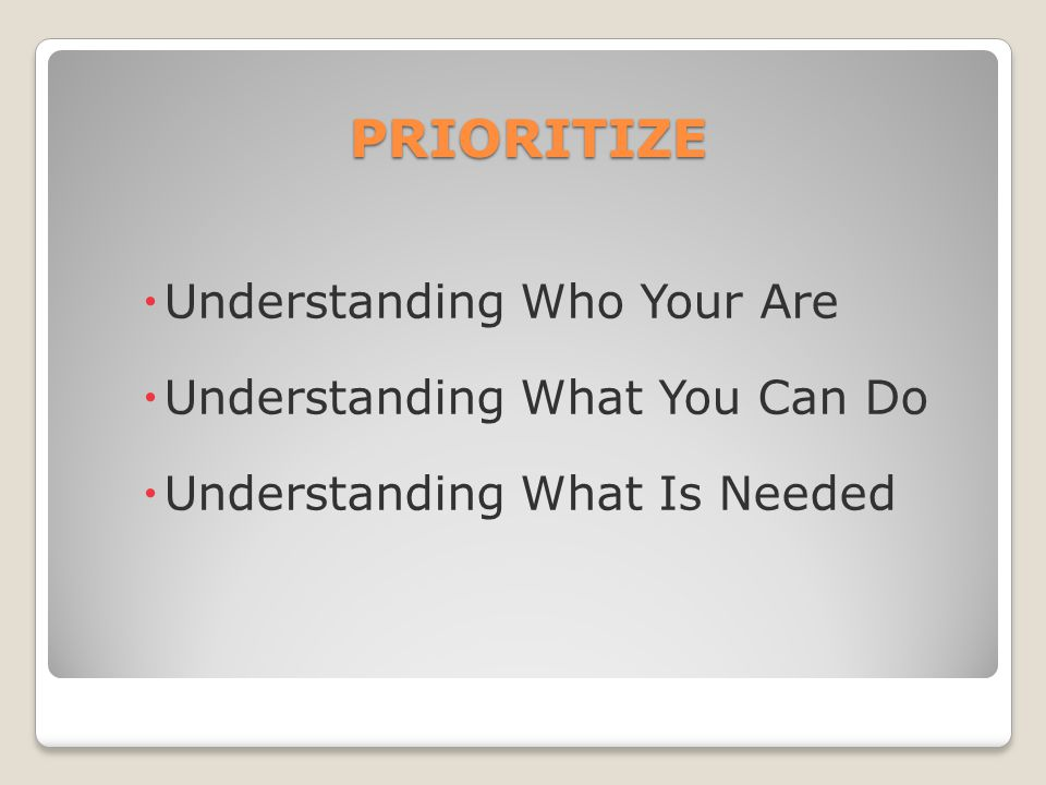 PRIORITIZE Understanding Who Your Are Understanding What You Can Do