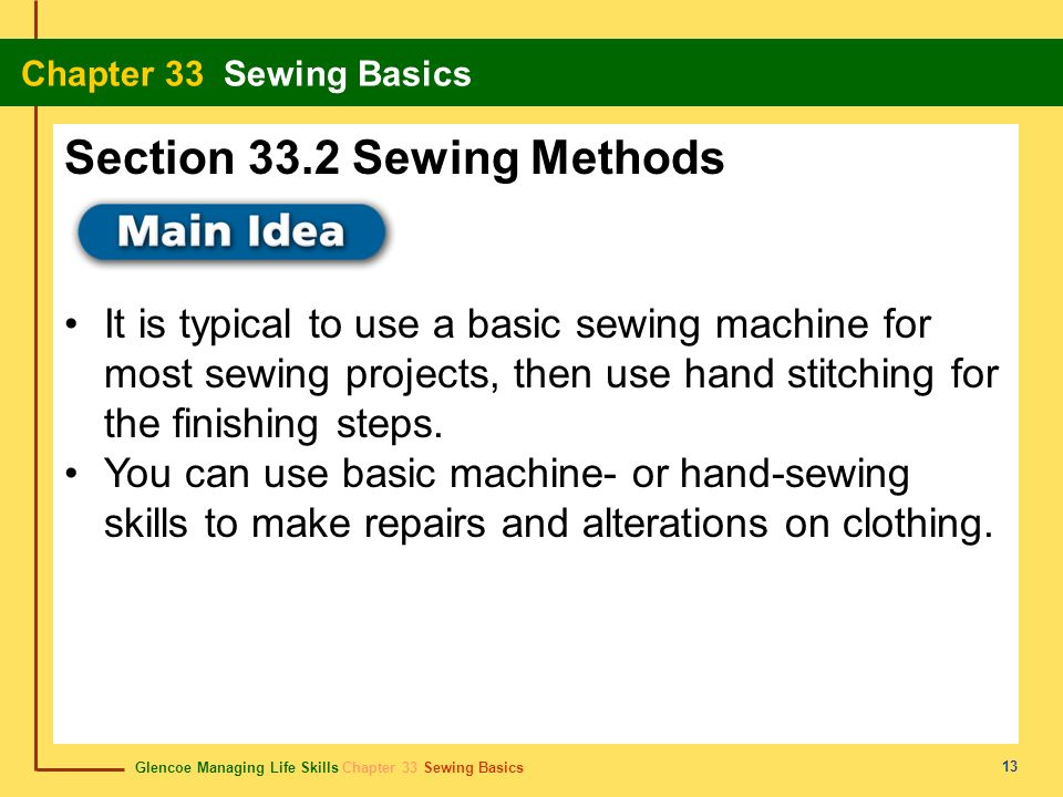 Section 33.2 Sewing Methods