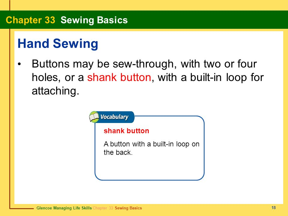 Hand Sewing Buttons may be sew-through, with two or four holes, or a shank button, with a built-in loop for attaching.