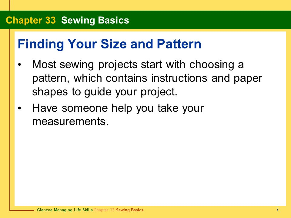 Finding Your Size and Pattern