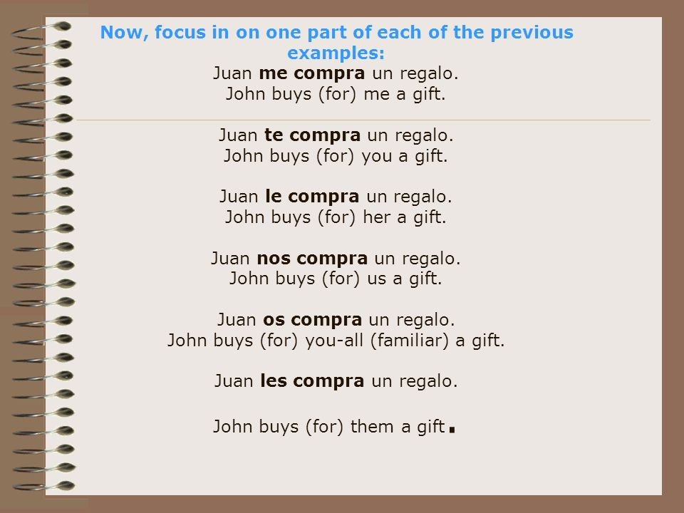 Now, focus in on one part of each of the previous examples: Juan me compra un regalo.