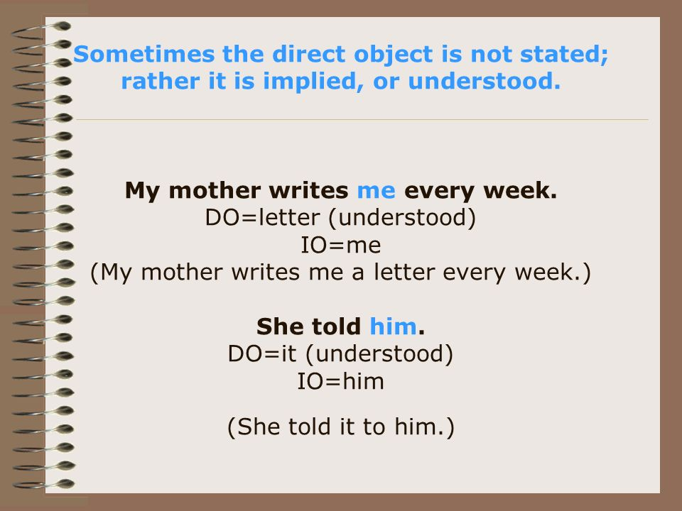 Sometimes the direct object is not stated; rather it is implied, or understood.