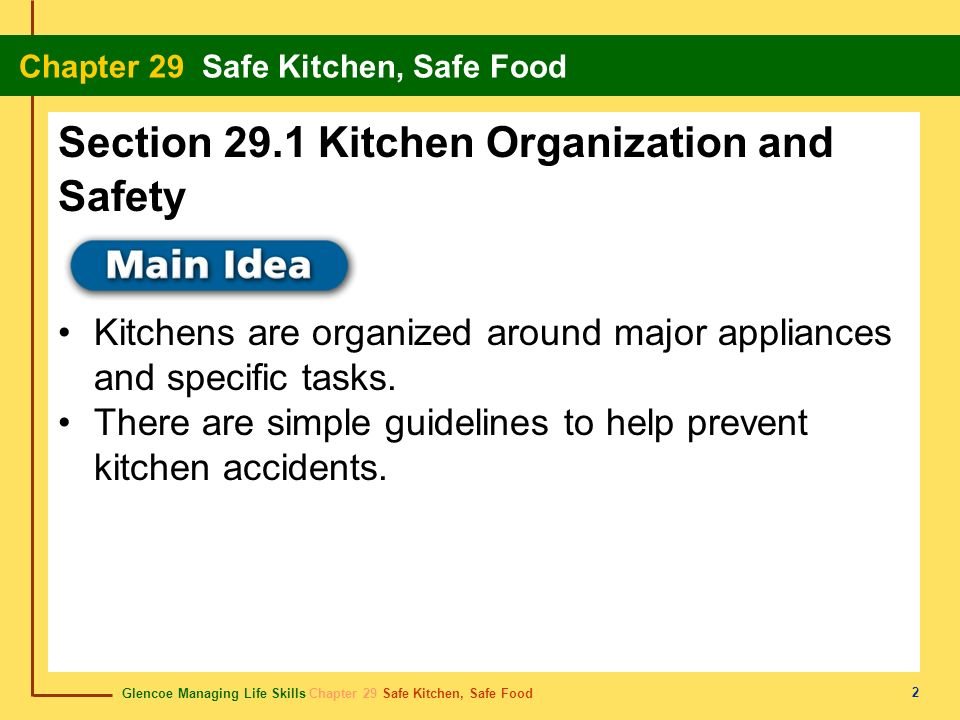 Section 29.1 Kitchen Organization and Safety