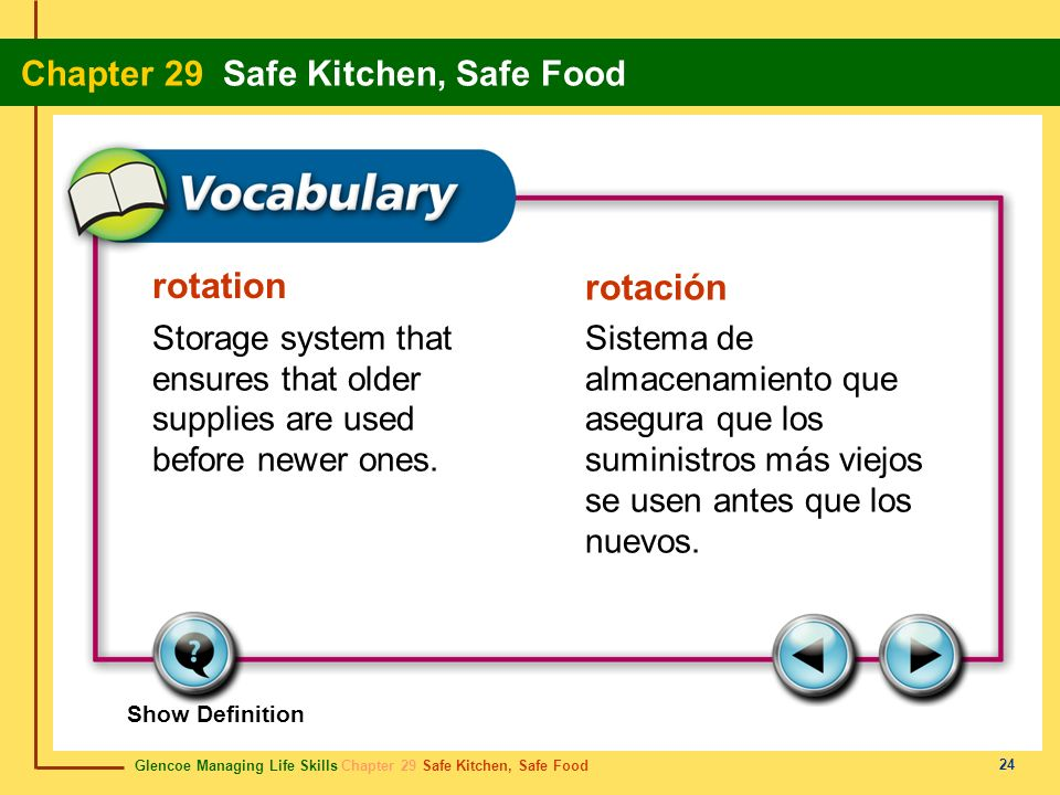 rotation rotación. Storage system that ensures that older supplies are used before newer ones.