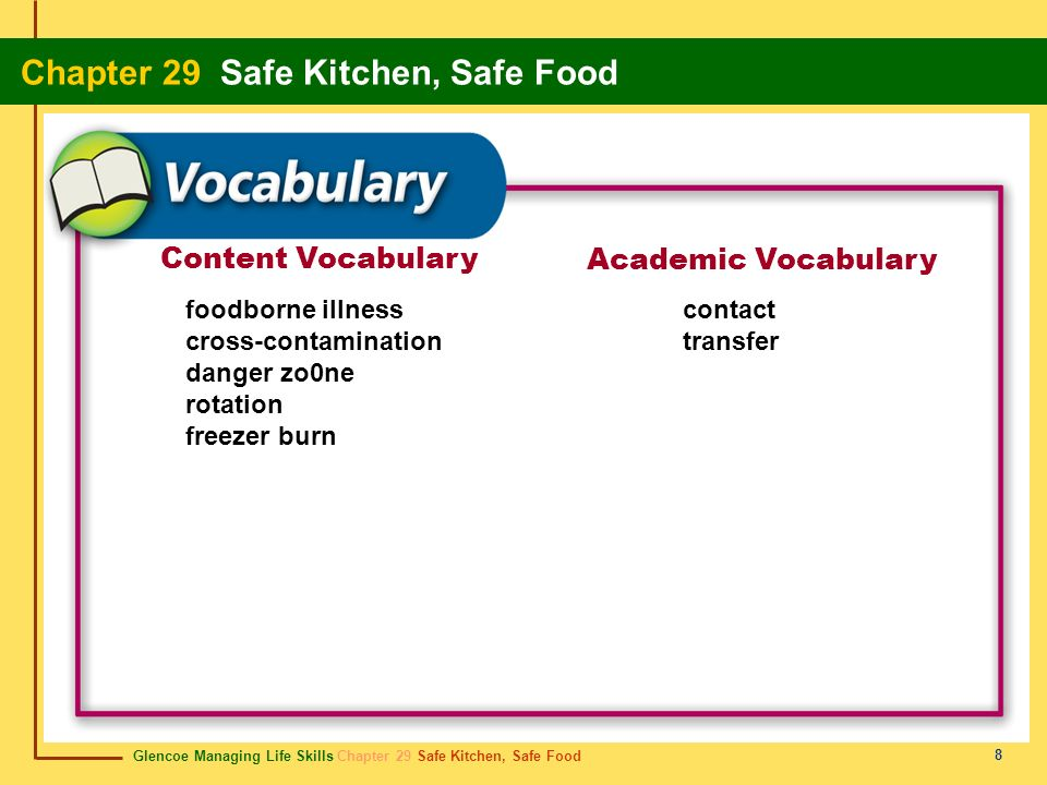 Content Vocabulary Academic Vocabulary foodborne illness