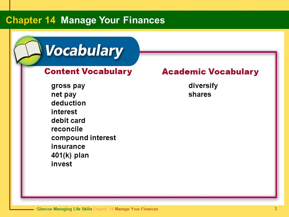 Content Vocabulary Academic Vocabulary gross pay net pay deduction