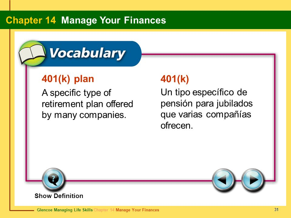 401(k) plan 401(k) A specific type of retirement plan offered by many companies.