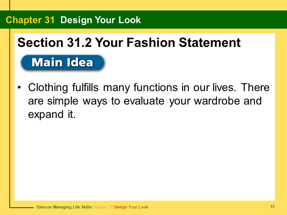 Section 31.2 Your Fashion Statement
