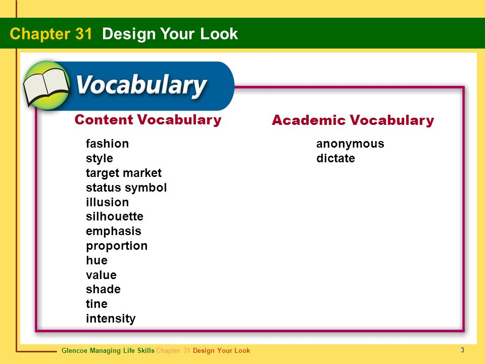 Content Vocabulary Academic Vocabulary fashion style target market