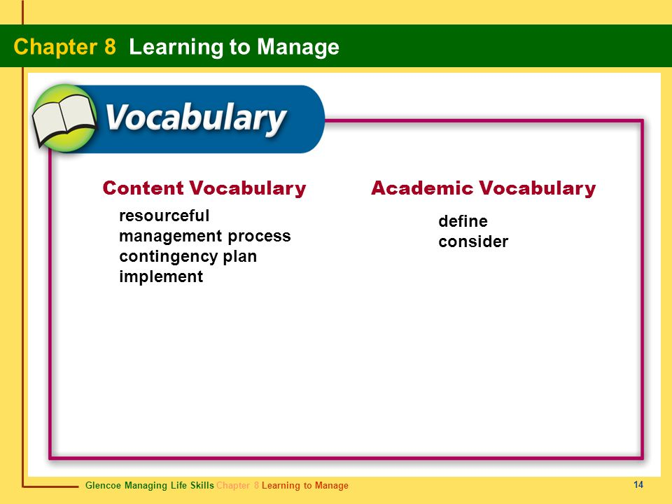Content Vocabulary Academic Vocabulary resourceful define