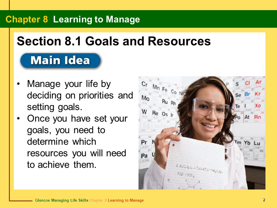 Section 8.1 Goals and Resources
