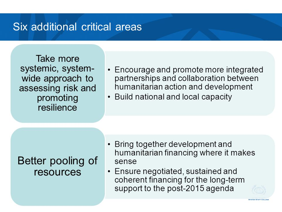 Six additional critical areas
