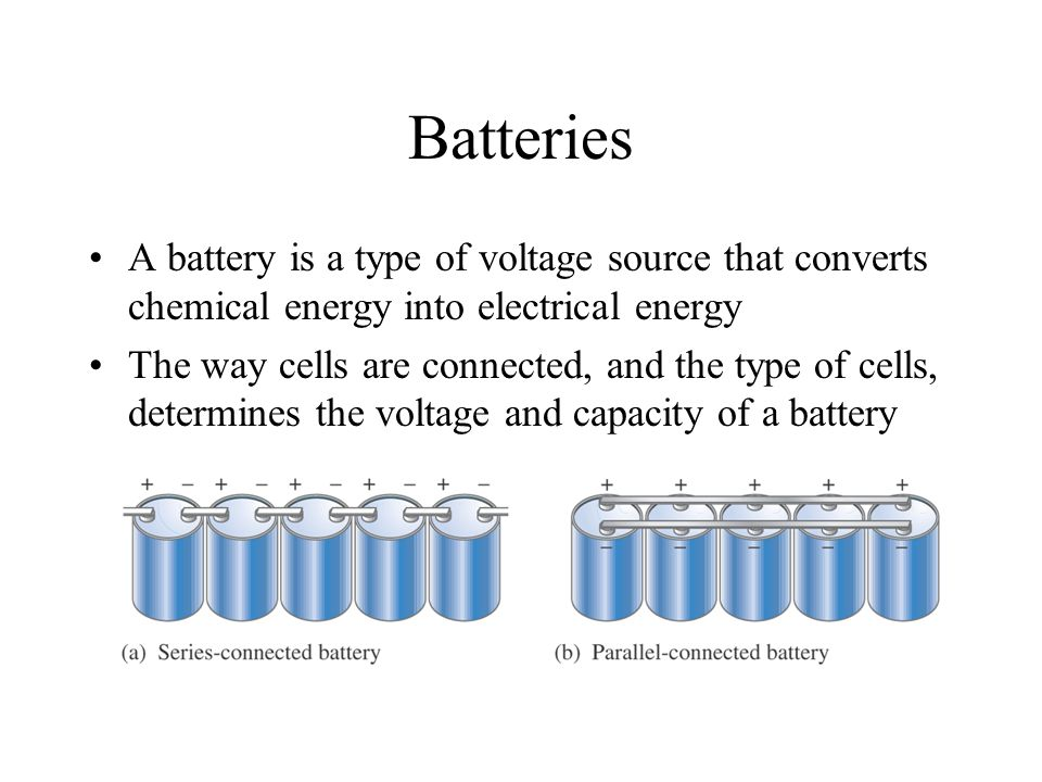 Batteries A battery is a type of voltage source that converts chemical energy into electrical energy.